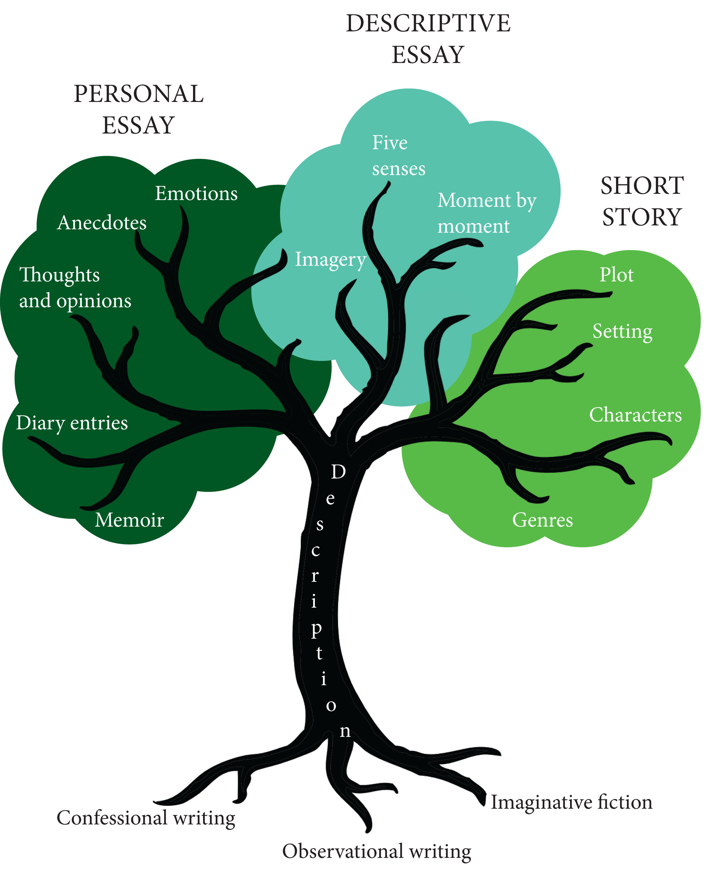 Types Of Descriptive Essay  Leavingcertenglishnet Tree Diagramindd